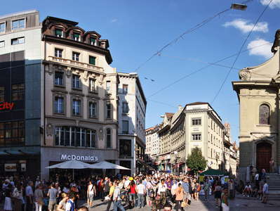 Lausanne  |  City centre with St. Laurent Church