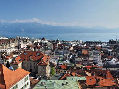 Lausanne  |  City centre and Lake Geneva