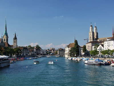 Zuerich  |  Limmat River and Grossmuenster