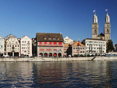 Zuerich  |  Limmatquai and Grossmuenster