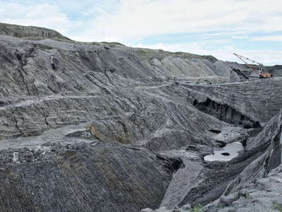 Baganuur  |  Brown coal mine with coal seam and landslide