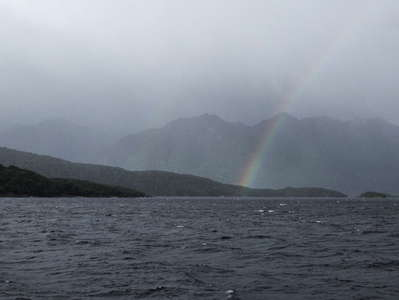 Lake Manapouri with rainbow