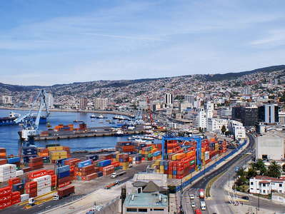 Valparaíso  |  Panorama with harbour