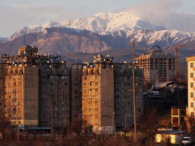 Dushanbe  |  Residential buildings and Hissar Range