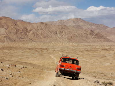 Alichur Pamir  |  Small car on dirt road