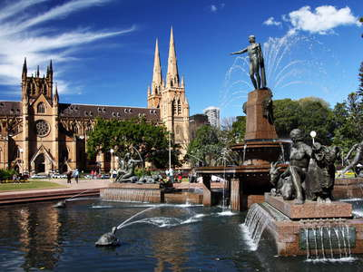 Sydney  |  Archibald Fountain and St. Mary's Cathedral