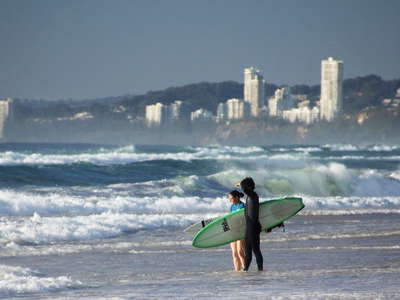 Surfers Paradise  |  Beach with surfers