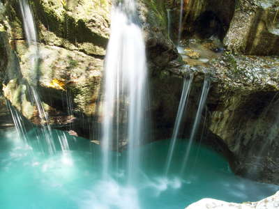Trenta Valley  |  Waterfall into Great Soča Gorge