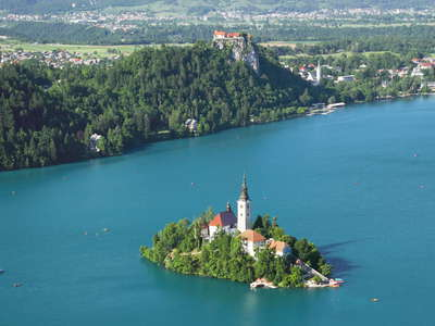 Lake Bled with Bled Island and Bled Castle