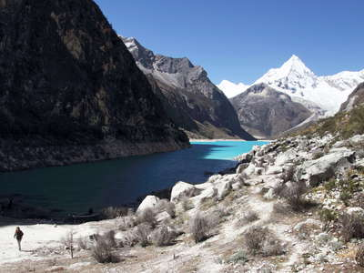 Cordillera Blanca  |  Lowered level of Laguna Parón