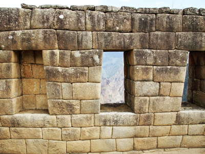 Machu Picchu  |  Wall with windows in the upper town