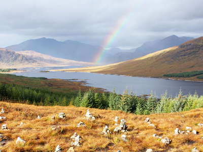Loch Loyne with rainbow