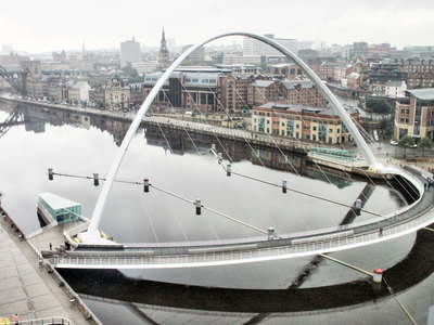 Newcastle  |  Quayside with Gateshead Millenium Bridge