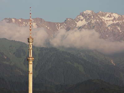 Almaty Tower with Zailiysky Alatau Range