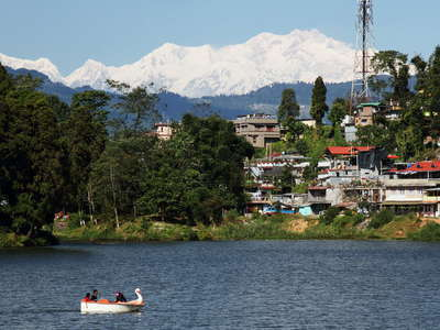 Mirik Lake with Kangchenjunga