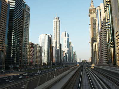 Dubai  |  Sheikh Zayed Road with metro and skyscrapers