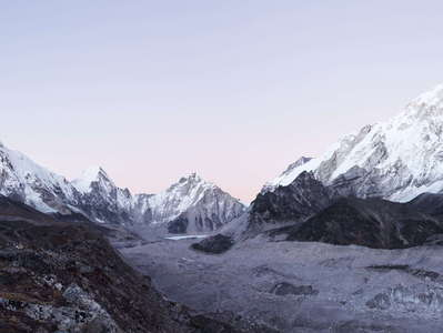 Khumbu Glacier with Pumori and Nuptse