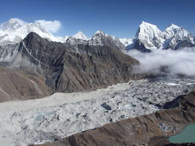 Gokyo Valley  |  Ngozumba Glacier and Mt. Everest