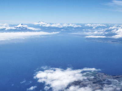Lago Llanquihue with volcanoes
