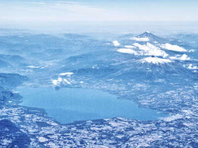Lago Panguipulli with Volcán Villarrica and Volcán Llaima