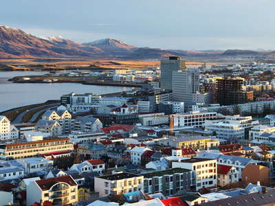 Reykjavik with tall buildings