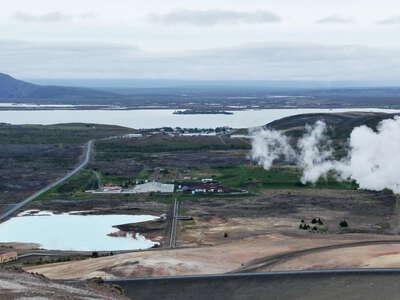 Mývatn with geothermal power plant