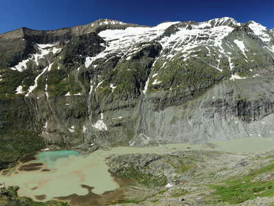 Glockner Mountains with Pasterze and proglacial lake