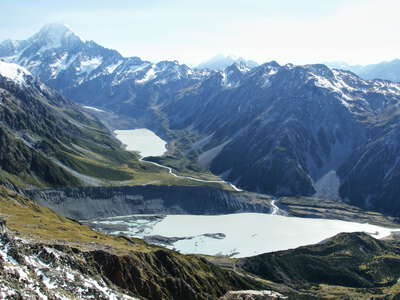 Mueller Lake and Hooker Lake with Aoraki / Mt. Cook